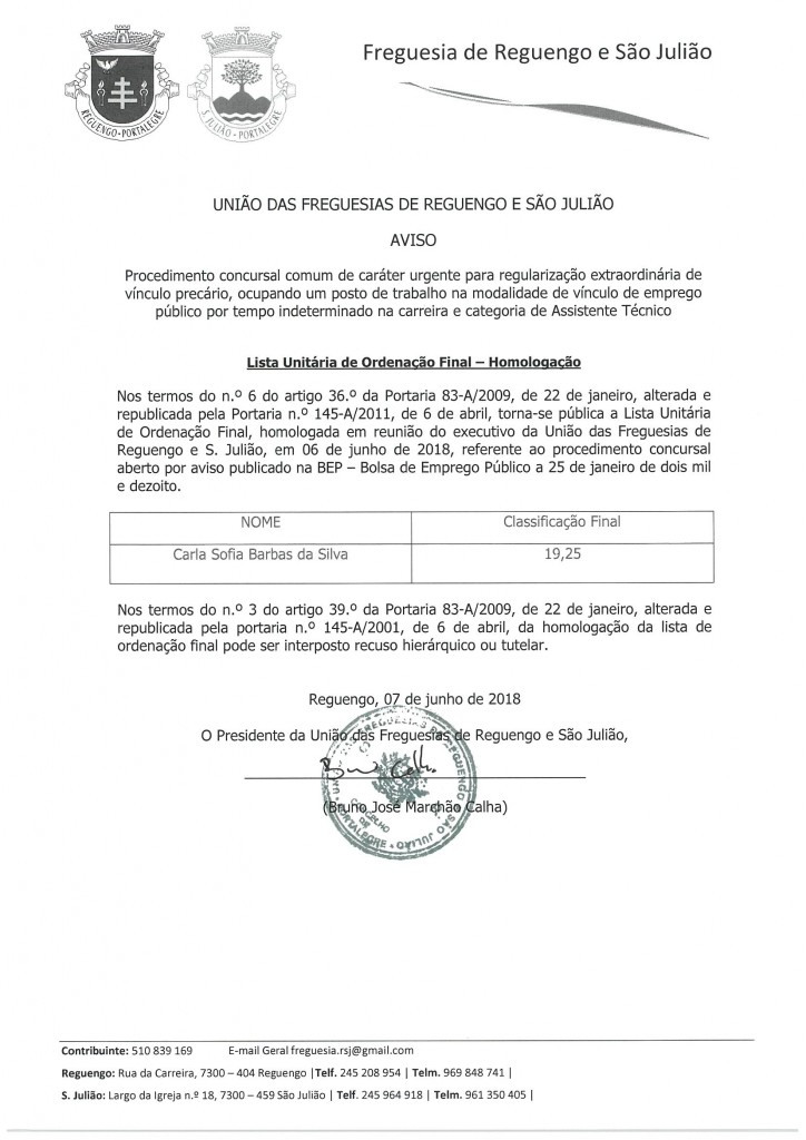Lista Unitária de Ordenação Final - Homologação